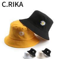 Moda Masculina Verão Mulheres Little Daisy algodão Double-sided Cap Sun Bucket Hat Bob Sunscreen hio hop Fisherman Chapéu Panamá