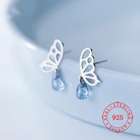 광저우 보석 시장에 고품질 925 개 스털링 실버 아름다운 아름다운 나비 디자인의 눈물 귀걸이 도매 많이