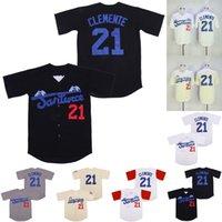 Santurce Crabbers Porto Rico Jersey 21 Roberto Clemente 100% cucito film sul baseball maglie Nero Bianco Crema S-XXXL