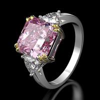 Wong Yağmur% 100 925 Gümüş düzenlendi Moisanit sitrin Safir Taş Düğün Nişan yüzüğü Güzel Takı Toptan CX200622