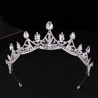 New Alloy Fine Leaf Crystal Bridal Crown Hairwear