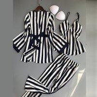 여성 잠옷 세트 3 개 패션 스파게티 스트랩 새틴 잠옷 여성 줄무늬 긴 소매 여름 홈 의류 Pijama 탑