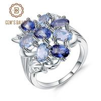 Gem'in Bale Renkli Doğal Sky Blue Topaz Mistik Kuvars Kokteyl Yüzük 925 Ayar Gümüş Yüzük Kadınlar Için Güzel Takı J190705