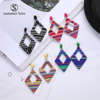 패션 기하학적 천으로 칠한 귀걸이 패션 다이아몬드 큰 후프 드롭 귀걸이 유행 보석 선물