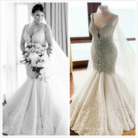 2019 Arabic Plus Size Mermaid Crystals Wedding Dresses Spagh...