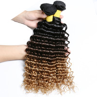 Brazilian Deep Wave Bundle Deals Ombre Deep Curly 3PCS Lot C...