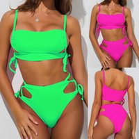 Summer solid color lace ladies drag swimsuit deep V solid co...