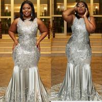 Splendida Africano Plus Size Sexy Prom Party Dresses 2019 Sirena senza maniche in pizzo Appliques Zipper posteriore abiti da sera formale