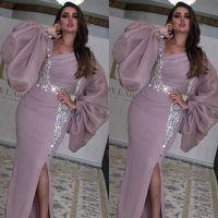 사이드 스플릿 사우디 아라비아 긴 소매 이브닝 드레스 V 목 KAFTAN 두바이 댄스 공식 파티 드레스 사용자 정의
