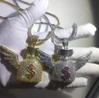 Argent 14K or glacé ailes sac d'argent pendentif Bling micro pavé de zircones cubiques diamants simulés signe dollar 3mm chaîne de tennis 24inch