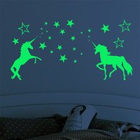 어린이 만화 스티커 어린이 Nightlight 유니콘 야광 스티커 어린이 절묘한 조각 별 말 패턴 Fluorescent Paster 6lf L1