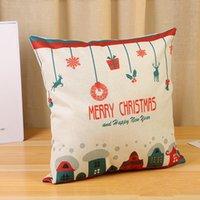 6styles Natale Federa Babbo Natale o un'immagine Cotone Lino federa casa dell'automobile del sofà di Natale Decor Cuscino puntelli 45 * 45cm FFA3229