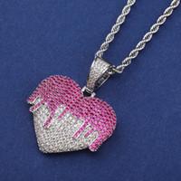 Hip Hip Jewelry Iced Out Подвеска Роскошная ожерелье Мужская золотая цепочка Подвески Bling Алмазная Сердце Подвески Рэпер Модные аксессуары New