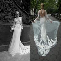 2020 Великолепная Inbal Dror Русалка Свадебные платья V-образным вырезом Аппликации Иллюзия Спинки Свадебные платья Sweep Поезд Свадебное платье на заказ