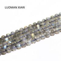 Andere Luoman Xiari Runde Natürliche Labradorite Moonstone Steinperlen für Schmuckherstellung DIY Armband Material 4/6/7 / mm Strang 15 ''