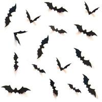 Venta al por mayor 10 sets DIY Halloween Party Supplies 3D Decorativo Scary Bats Etiqueta de la pared Etiqueta de la pared, Halloween Eve Decoración de la ventana de la pared, Negro