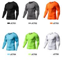 Nueva llegada Camisa de compresión de secado rápido Camiseta de entrenamiento de manga larga Ropa de ejercicio de verano Color sólido Culturismo Gimnasio Crossfit
