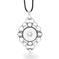Collana di Ginger del fiore rotondo intercambiabile caldo 294 Fit 18mm Pulsante a scatto Collana del pendente Collana di fascino dei gioielli per le donne Regalo