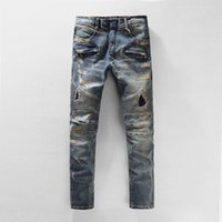 Mode Hommes Jeans Hommes de haute qualité Distressed Denim Jeans Zipper Retro Ripped Casual Pants Bleu Taille 29-42