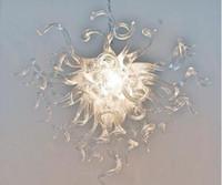 Moderna Borrar color mano cristalina blanca soplado cadena de vidrio de estilo moderno iluminación de la lámpara American National Standard lámparas pendientes