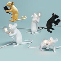 Presente bonito Night Lights Arte Moderna Branco bonito Black Resin ouro Candeeiros de mesa do rato do rato Animais Luzes Room Decor mouse Desk Lamps crianças