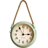 Nordic Modern Minimalist Wall Clock Living Room Pastoral Iron Metal Hanging Clocks Creative Quartz Mute Clock with Rope-Gre