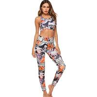 رياضية للنساء الأزياء السببية س الرقبة الأزهار طباعة 2 أجزاء طويلة السراويل أكمام الصدرية ارتداء اليوغا مجموعة رياضية للإناث # 980709