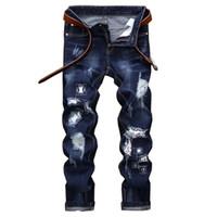 Мода дыра синие джинсы мужчины длинные брюки хлопок классические прямые джинсы плюс размер 42 синих мужчин