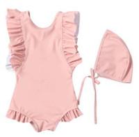 어린이 수영복 여자 한 조각 비키니 수영복 아기 여름 주름 수영복 얽히고 설킨 수영 장난 꾸러기 스커트 비치웨어 수영복의 CZYQ5492 캡