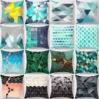 Square Waist Pillow Covers Contracted Abstract Geometric Pri...
