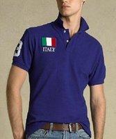 Americano Moda Cotton Men Clothing EUA Bandeira Itália França Imprimir T camisa masculina Magro Polo homem camisetas Casual Polo Tops Esportes Tees