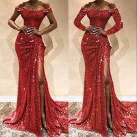 Vermelho lantejouled sereia vestido de baile laço apliques sexy slit off ombro vestidos de noite manga longa vestidos formais