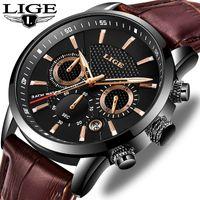 LIGE neue Mens Uhr-Spitzenmarken Luxus Militärsport-Uhr-Mann-Leder wasserdicht Uhr-Quarz-Armbanduhr Relogio Masculino + Box CJ191217