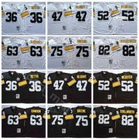 NCAA Football 75 Joe Greene 36 Jerome Bettis Jersey 47 Mel Blount 52 Mike Webster 63 Dermonti Dawson John Stallworth Black White Vintage