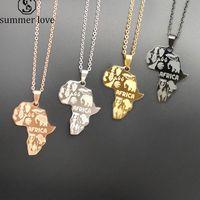 4 цвета Африка карта кулон ожерелье для женщин мужчины эфиопские ювелирные изделия мода из нержавеющей стали карта животных хип-хоп ожерелья подарки