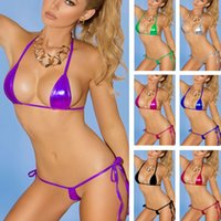 Summer Sexy Women Swimsuit Bikini Set Wet Look Hater Lace up...