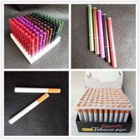 100 pçs / lote 78mm55mm forma de cigarro fumar tubos mini mão tubos de tabaco tubos de rapé de alumínio cerâmico de cerâmica acessórios 5 estilos