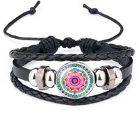 2019 indische Mandala Blume Des Lebens armbänder Für frauen Buddhismus Meditation Glas Cabochon charme leder seil armbänder armreif Herrenschmuck