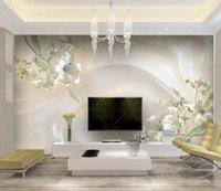 Пользовательские обои 3D стереоскопического Джейд резьба лилии мраморной Картины Современной Аннотация стена искусство Mural Гостиная Спальня обои