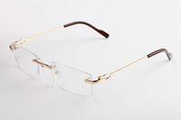 Lunettes de soleil de marque sans monture de marque de mode pour hommes femmes lunettes de haute qualité en alliage de corne de buffle lunettes avec la boîte