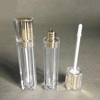 Vente en gros de cosmétiques de luxe Cosmétiques emballage en plastique conteneur 8ml or argent carré transparent tube brillant tube vide Tubes vides Liquide Lipgloss Lipstick Bouteilles Conteneurs