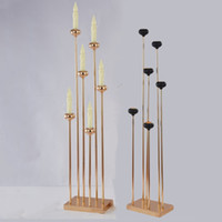 Candelabros de Metal 6 brazos candelabros de lujo 1,2 m de altura mesa de boda centro de mesa Pilar candelabros para fiesta en casa Decoraion