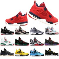 FIBA Neon What The 4 Cool Grey Splatter Scarpe da basket 4s New Bred Singles Day Tattoo Travis Royalty Mens Sports Sneakers des Chaussures