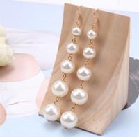 Luxuriöse Designer Perle Baumeln Ohrringe Schmuck Einfache Elegante Lange Quaste Kronleuchter Ohrring für Frauen Geschenke Pearl Baumeln Ohrringe