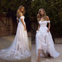 País primavera boho vestidos de novia sexy sin espalda una línea de encaje de hombro apliqueado tul largo verano vestido nupcial vestido de novia bohemio