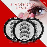 Cils magnétiques Shozy avec 4 aimants Extensions de cils magnétiques faits à la main en 3D Faux aimant pour cils Lash-KS09-4