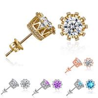 Taç Küpe Gümüş Düğün Küpe CZ Elmas Kristal Altın Küpe Kız Parti Moda Takı Toptan Ücretsiz Kargo-0055WH