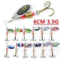 10pcs multicolor 6cm 3,5 g Spinner Pesca Ganchos anzuelos 6 # gancho de metal Cebos Señuelos cebo artificial Pesca Caza y Pesca Accesorios D-001