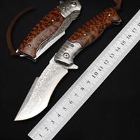 사냥 칼 전술 생존 도구 캠핑 EDC 접는 나이프 야외 MK 67 층 다마스커스 스틸 볼 베어링 플리퍼 칼