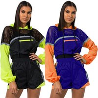 HISIMPLE 2019 Sexy Fluorescent Color Patchwork Women's Tracksuit Fishnet Long Sleeve Hooded Crop Top And Riding Shorts Two Piece Set Outfits